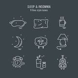 Collection of isolated  line icons with sleep problems and insomnia symbols Royalty Free Stock Image