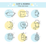 Collection of isolated  line icons with sleep problems and insomnia symbols Royalty Free Stock Photography