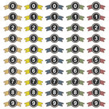 Collection of 50 isolated multicolor number icons on white background Stock Image