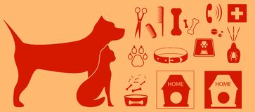 Collection isolated objects for pet Royalty Free Stock Photography