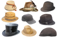 Collection of isolated old hats Stock Photos