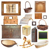 Collection of isolated old wooden objects Royalty Free Stock Photos