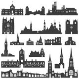 Vector collection of isolated palaces, temples, churches, cathedrals, castles, city halls, edifices,  ancient buildings and other Royalty Free Stock Photo