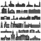 Vector collection of isolated palaces, temples, churches, cathedrals, castles, city halls, edifices,  ancient buildings and other Royalty Free Stock Photos