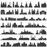 Vector collection of isolated palaces, temples, churches, cathedrals, castles, city halls, edifices,  ancient buildings and other Stock Photo