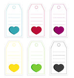 Collection of 6 isolated price tags with big hearts Stock Photography