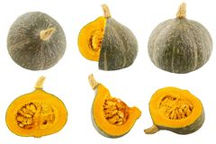 Collection of isolated pumpkins on white background. With clipping path for package design Stock Image