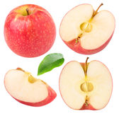 Collection of isolated red apple pieces Royalty Free Stock Photos