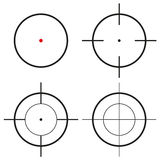 Collection of 4 isolated round crosshairs Royalty Free Stock Images