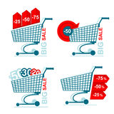 Collection of  isolated shopping carts with discounts Royalty Free Stock Photos