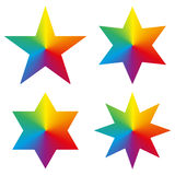 Collection of 4 isolated stars with rainbow gradient Royalty Free Stock Images