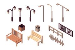 Collection isolated urban element of street environment for modern city. Concept set with fence, trashcan, bench, street light. Low poly. 3d vector isometric vector illustration