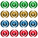 Collection of 16 isolated vector icons - currency symbols Stock Photo