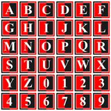 Collection of 36 isolated vector icons on white background - alphabet and numerals. Computer generated collection of 36 isolated vector icons on white background Stock Photography