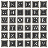 Collection of 36 isolated vector icons on white background - alphabet and numerals. Computer generated collection of 36 isolated vector icons on white background Royalty Free Stock Photos