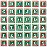 Collection of 36 isolated vector icons on white background - alphabet and numerals. Computer generated collection of 36 isolated vector icons on white background Royalty Free Stock Images