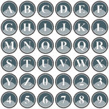 Collection of 36 isolated vector icons on white background - alphabet and numerals. Computer generated collection of 36 isolated vector icons on white background Stock Image