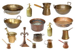 Collection of isolated vintage copper objects Stock Images