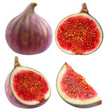 Collection of isolated whole and cut figs Royalty Free Stock Image