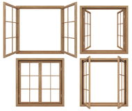 Collection of isolated wooden windows Royalty Free Stock Images