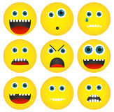 Collection of 4 isolated yellow emoticons with different express Royalty Free Stock Photography