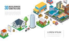 Collection isométrique d'éléments de paysage urbain illustration libre de droits