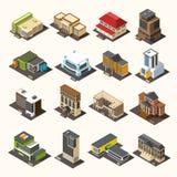 Collection isométrique de bâtiments urbains Photographie stock