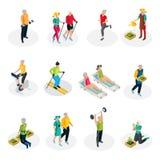 Collection isométrique de la vie de retraité illustration stock