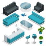 Collection isométrique de meubles de bureau Photos libres de droits