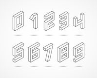 Collection of the isometric numbers 3d illustration Royalty Free Stock Images