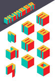 Collection of the isometric numbers. Vector illustration Royalty Free Stock Images