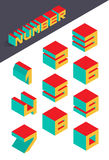 Collection of the isometric numbers. Vector illustration Stock Photo