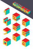 Collection of the isometric numbers. Vector illustration Stock Images