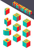 Collection of the isometric numbers. Vector illustration Royalty Free Stock Photos