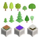 Collection of isometric trees and flower beds royalty free illustration