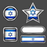 Collection of israel flag icons Stock Image
