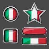 Collection of italian flag icons Stock Photography