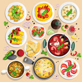 Collection of italian food top view illustrations Stock Photo
