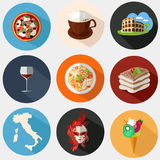 Collection of Italian icons in a flat style Royalty Free Stock Photography