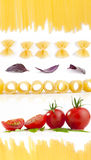 Collection of Italian pasta Royalty Free Stock Images