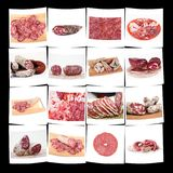 Collection of italian salami and ham in white background. Collection of italian salami and ham on white background Stock Photography