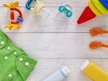 Collection of items for babies with copy space Royalty Free Stock Photography