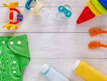 Collection of items for babies with copy space stock photography