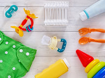 Collection of items for babies top view Royalty Free Stock Photos