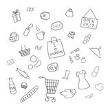 Collection of items from the shopping areas Royalty Free Stock Photos
