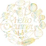 Collection of items on the summer theme in the style of sketch. Vector drawing of colorful contours on white background. Collection of items on the summer theme Royalty Free Stock Image