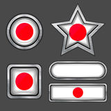 Collection of japan flag icons Royalty Free Stock Photo