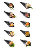 Collection of Japanese Hand Roll Temaki Royalty Free Stock Photos