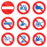 Collection of Japanese regulatory road signs Stock Photos