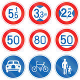 Collection of Japanese regulatory road signs Stock Images